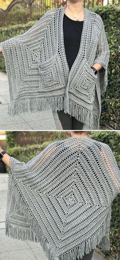 Crochet Cardigan Pattern, Crochet Shawl, Crochet Stitches, Knit Crochet, Free Crochet, Crochet Granny, Shawl Patterns, Crochet Patterns, Skirt Patterns