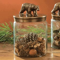 Rustic Bear Glass Canister - Large... spray paint a toy bear, glue to top, spray paint top