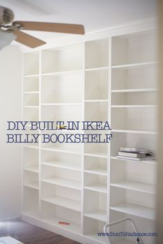 create DIY built in bookshelves using ikea billy bookcases... fill the adjustable shelf holes with caulk