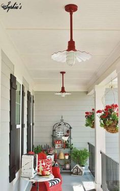 farmhouse style front porch with pops of red, outdoor living, porches Farmhouse Porch Swings, Farmhouse Front Porches, Home Porch, House With Porch, Country Porches, Craftsman Porch, Farmhouse Style, Farmhouse Decor, Farmhouse Ideas