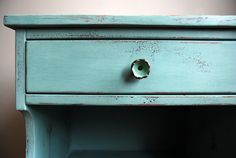 A side table I did in Annie Sloan's Duck Egg Blue, with hardware from Anthropologie.