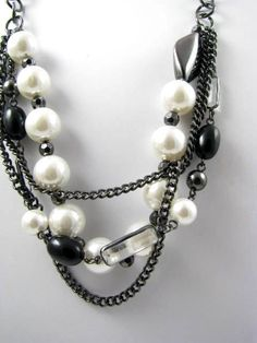 Chained Pearls Necklace by Suwanee on Etsy, $20.00