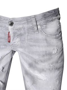 DSQUARED2 - PAT WASHED DESTROYED STRETCH DENIM JEANS - LUISAVIAROMA - LUXURY SHOPPING WORLDWIDE SHIPPING - FLORENCE