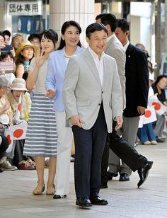 Japan's Crown Prince Naruhito his wife Crown Princess Masako and their daughter Princess Aiko arrive at Izukyu Shimoda Station in Shimoda Shizuoka...
