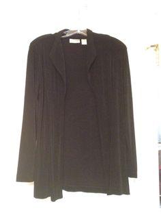 Chicos Travelers Sz 0 (4/6) Black Long Sleeve Open Front Jacket Stretch Slinky…