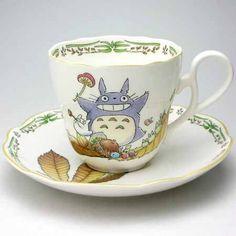Cup+&+Saucer+-+Bone+China+-+Noritake+#1+-+Totoro+-+Ghibli+(new)
