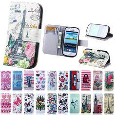 I8190 tirón de la manera cubierta de cuero de la pu bolso del teléfono caso para samsung galaxy s3 mini i8190 caja del teléfono con ranura para tarjeta soporte de la carpeta estilo