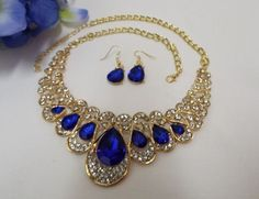 $17.99 Jewelry Prom Bridal Party Pageant Ballroom  Blue Necklace &  Earrings