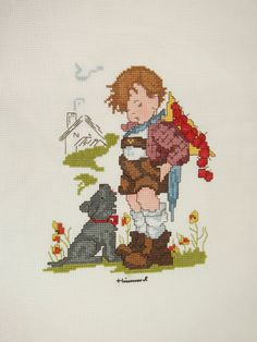 Hummel Completed Vintage 80s Cross Stitch Not For You via Etsy