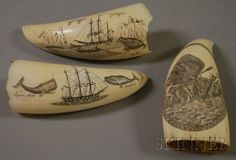 Three Small Scrimshaw Decorated Whale's Teeth | Sale Number 2514M, Lot Number 1305 | Skinner Auctioneers