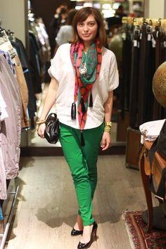 white blouse + green pants