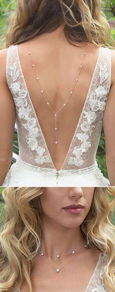 Rose Gold Back Necklace, Bridal Gold Back Necklace, Backless Dress,Back Drop Necklace, Rose Gold Necklace, Crystal Necklace, Pendant Body Necklace
