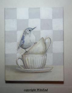 Bird Teacup painting  original ooak art Nuthatch by 4WitsEnd via Etsy