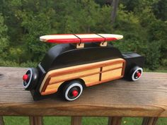 A personal favorite from my Etsy shop… Wooden Toy Cars, Wood Toys, Wood Projects, Woodworking Projects, Woody Wagon, Pinewood Derby, Vintage Toys, Surfboard, Kids Toys