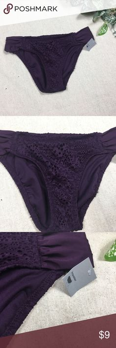 "Mossimo Purple Bikini Bottoms Mossimo Purple Bikini Bottoms. New with tags, never been worn. No flaws.  Hip to hip - 14""  Top to bottom - 9"" Mossimo Supply Co. Swim Bikinis"