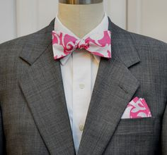 Lilly Pocket Square and Bow Tie (self-tie) in Lining up by CCADesign on Etsy