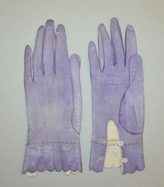 """Gloves, Alexandrine (French): ca.  1867, French, leather. Marking: [imprint] (right) """"Alexandrina"""" [imprint] (left) """"6 1/4 / 24"""""""