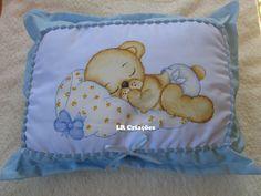 Almofada decorativa pintada á mão com ursinho dorminhoco :)