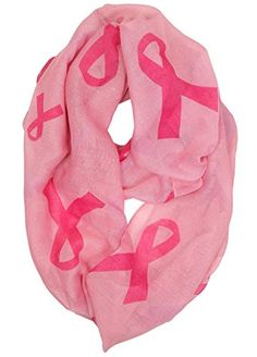 Funky Junque's Women's Pink Ribbon Breast Cancer Awareness Light Infinity Scarf. GREAT LOOK: This cute circle scarf will have other wishing they had one too! Super cozy and fashionable, you can wear this scarf in the spring, summer, winter and fall! The bubble gum pink colored fabric looks great on all skin tones and hair colors. Big and small sized fuchsia ribbons are scattered across the entire wrap. Men and women young and old can wear this sash will honor and pride! Pair this scarf with…