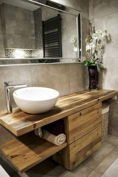 Wash cabinet made of old wood. Ecological, modern and stylish. Wash cabinet made of old wood. Ecological, modern and stylish. Large Bathrooms, Rustic Bathrooms, Modern Bathroom, Master Bathroom, Bathroom Vintage, Bathroom Art, Cream Bathroom, Rustic Bathroom Vanities, Brown Bathroom