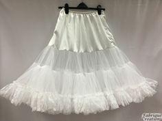 "Retro 50s Style Rockabilly Dress Petticoat / Underskirt – White – Plus Sizes (XL – XXL) – 26"" Long"