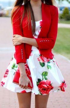 Red Rose Print Skater Dress #sai