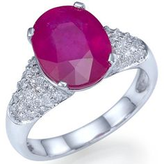 5.50 carats Natural Ruby Diamond Ring 14k White Gold