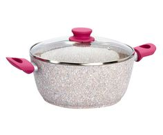 Casseruola con coperchio in quarzi granito Colore manici: fucsia  ad Euro 49.00 in #Bisetti #Kitchendining cookware ovenware
