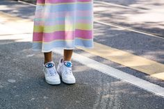 Pin for Later: Updated! See All the Quirky-Cool Shoes and Bags We Spotted at MFW Milan Fashion Week, Day 2 Nike sneakers.