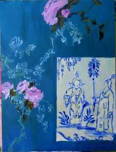 This is an original painting. Dimensions are 24x32  Style: whimsical chinoiserie  Artist: Susan Brown  Material: acrylic on wood    Please contact me