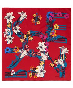 Tropical prints Kenzo's silk scarf. Shop here http://www.liberty.co.uk/fcp/categorylist/dept/kenzo-accessories #LibertyScarves