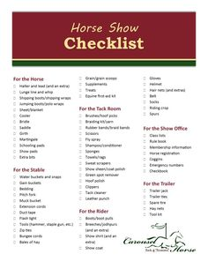 Let The Carousel Horse Prepare You for Show Season - Horse Show Checklist