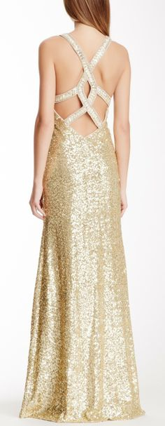 Crisscross Sequin Gown