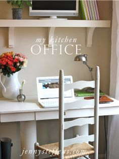 Creating a Kitchen Office  http://jennysteffens.blogspot.com/2013/01/my-kitchen-office-our-home.html