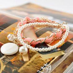 Fashion Beige Ribbon Chain Shell Charm Bracelet wholesale.
