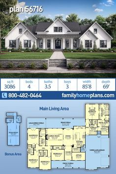 House Plan 56716 Country Farmhouse OneStory Traditional Style House Plan with 3086 Sq Ft 4 Bed 4 Bath 3 Car Garage House Plans One Story, Family House Plans, Ranch House Plans, Craftsman House Plans, Country House Plans, New House Plans, Dream House Plans, Modern House Plans, Small House Plans