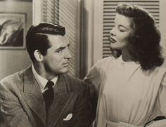 """Carey Grant and Katharine Hepburn in """"The Philadelphia Story""""...loved these two together...great romantic comedy!"""
