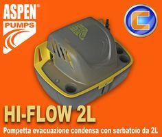 Pompetta per l'evacuazione dell'acqua di Condensa dei climatizzatori. la pompa Marca ASPEN modello Hi-flow 2L ha un serbatoio di raccolta di 2 litri, ALTO LIVELLO DI AFFIDABILITA' OTTIMO RAPPORTO QUALITÀ/PREZZO PREVALENZA MASSIMA VERTICALE 4,6 METRI PORTATA MASSIMA DELL'ACQUA: 288 LITRI/ORA CON PREVALENZA ZERO INTERRUTTORE DI SICUREZZA A GALLEGGIANTE PRE-CABLATO.