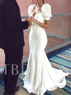 Beading Puff Sleeve Mermaid Wedding Dress 2019 We carry a wide array of the hottest styles of tops, bottoms, dresses, jewelry, and accessories. Gowns With Sleeves, Wedding Dress Sleeves, Puff Sleeves, Short Sleeves, Event Dresses, Occasion Dresses, Modern Filipiniana Gown, Filipiniana Wedding Theme, Bridal Gowns