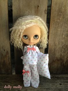 dolly molly ROSE flannel pajamas for blythe doll top by dollymolly