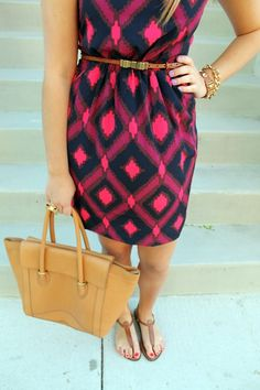 navy + pink ikat dress...super cute pattern and colors!