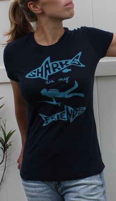 Womens Shark Tshirt Sharks are my Friends by Seventy1Percent, $19.98