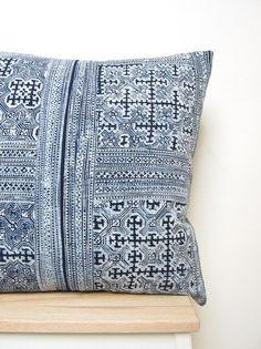 Vintage indigo blue batik Hmong textile by frompastopresent