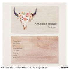 Bull Head Skull Flowers Watercolor Illustration Business Card March 16 2017 #junkydotcom #zazzle  4x