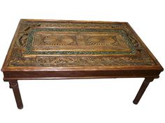 Antique Coffee Table Teak Wood Furniture Chakra Hand Carved 74 Inch  $2,950.00