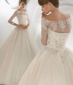 Elegant Sexy A-line satin, tulle and lace applique floral bridal gown  long-sleeved wedding dress custom lace on Etsy, $180.00