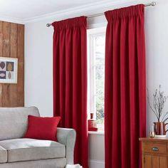 Solar Pencil Pleat Red Curtain