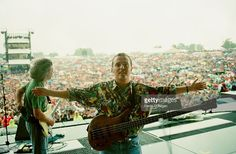 Roland Orzabal (left) and Curt Smith of English pop band Tears For Fears perform live at Knebworth, 30th June 1990.