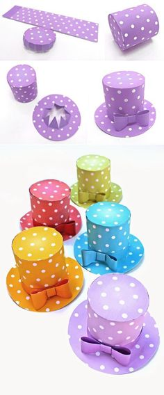 Mini polka dot hats. inspiration photos no written directions...  follow photos..you'll need to decide what size cylinder base and brim for hat