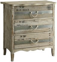 Crestview Collection Grand Isle 3 Drawer Chest Light toned wood with a blue-grey stripe drawers and rope handles. Rustic Furniture Stores, Shabby Chic Furniture, Antique Furniture, Painted Furniture, Home Furniture, Modern Furniture, Cheap Furniture, Bedroom Furniture, Discount Furniture